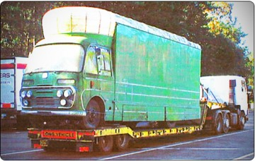 M.G.M Haulage of Bedford mobile cinema KJU 267E, October 2003.